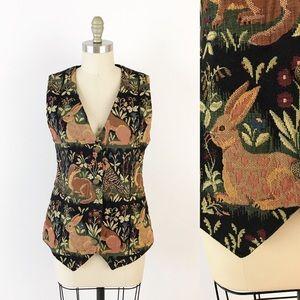 Vintage Woodland Tapestry Vest Rabbit Otter G543